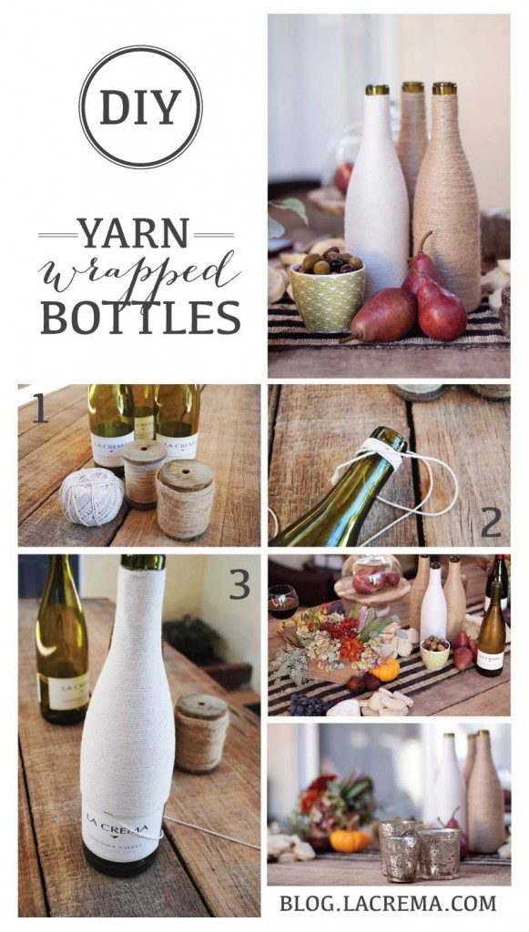 Ever wondered what to do with all those left over La Crema wine bottles? Here is a simple DIY on how to wrap wine bottles with yarn to create rustic table décor.