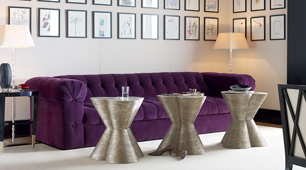 Baker Furnitureu002639s New Tufted Sofa In Purple Velvet By Renowned Designer Jacques Garcia Is Long And Luxurious  0