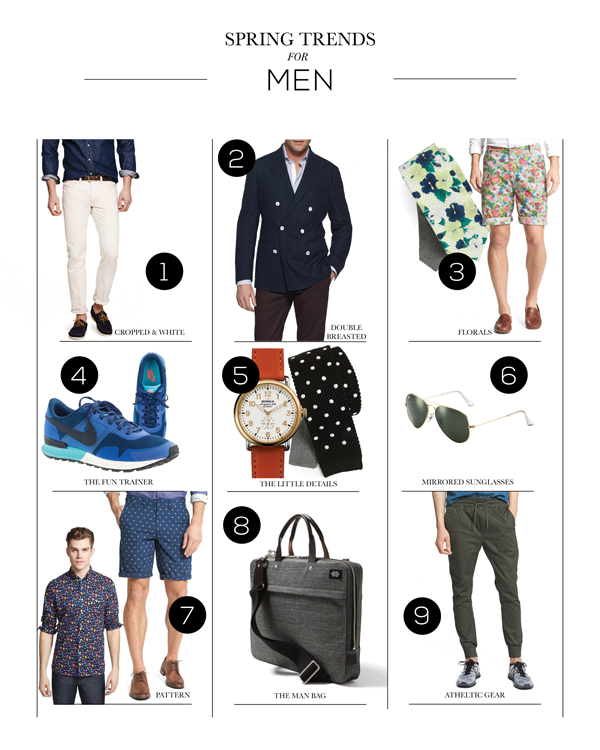 1. cropped and white | 2.  double breasted knit blazer  3.Florals- floral vintage washed shorts and floral cotton tie  | 4.  the fun trainer | 5. the little details- polka dot silk tie and leather strap watch  | 6. mirrored sunglasses  | 7. prints and patterns - print shorts and floral sport shirt  | 8. the man bag  | 9. athletic gear