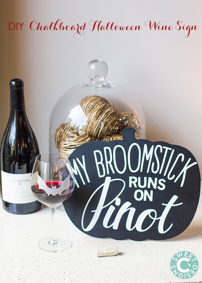 DIY chalkboard halloween wine sign- this is such a cute idea!