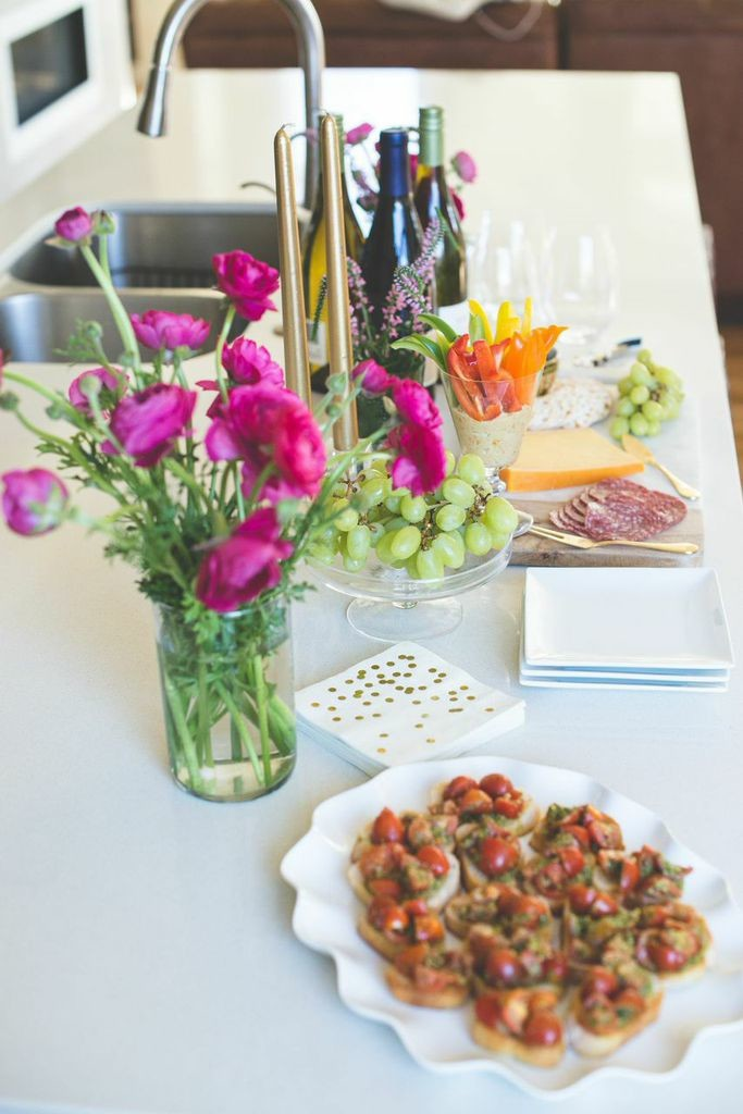 Add colorful flowers to brighten up your Happy Hour spread!