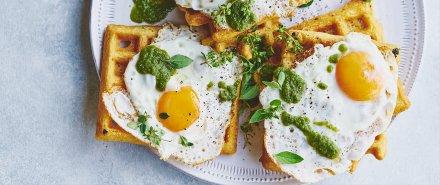 Green Huevos Rancheros and Cornmeal Waffles