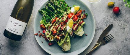 Grilled Romaine Salad with a Creamy Avocado Dill Dressing
