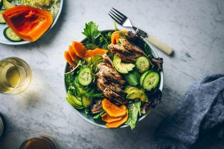 Grilled Marinated Chicken and Papaya Salad